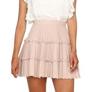 Blush Knitted Mini Skater Skirt